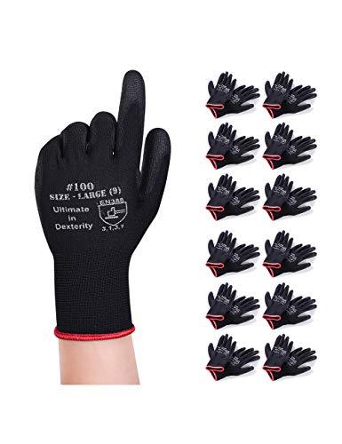 Donfri 12 Paar Arbeitshandschuhe Gartenhandschuhe Schutzhandschuhe Werkstatt Handschuhe Mit PU beschichtet fr Garten und Arbeitshandschuhe multifunktional (9/L)