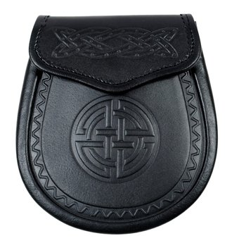 Celtic Double Embossed Black Leather Scottish Highland Sporran