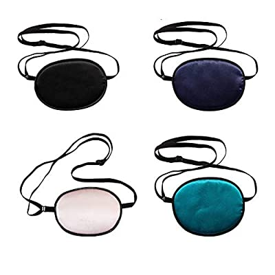 ConStore 4 PCS Adults Silk Eye Patch Elastic Eye Patches Amblyopia Strabismus Corrected Visual Acuity Recovery Eye Patch Mask Cover Pads by ConStore