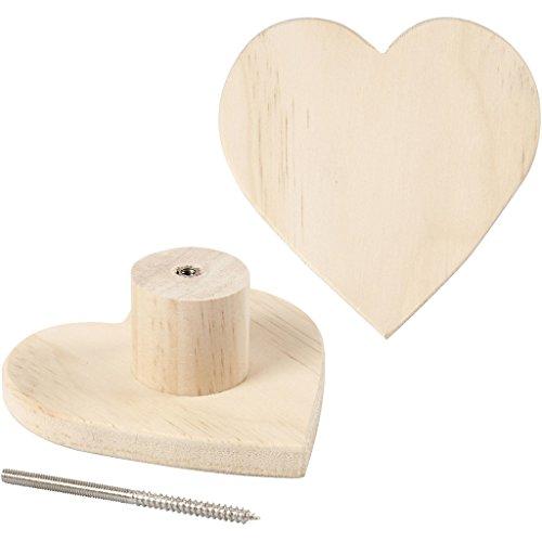 Porte-manteau, coeur, d: 11 cm, profondeur 4,5 cm, pin, 1pièce