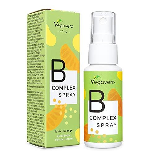 Vitamina B Complex Spray Vegavero® | Con TODAS las Vitaminas B | Sabor Naranja | Sin azúcar & Sin aditivos | Complejo Vitamina B12 + B6 + B3 + B1+ B2 + B5 + B7 + B9 | Vegano | 120 Pulverizaciones