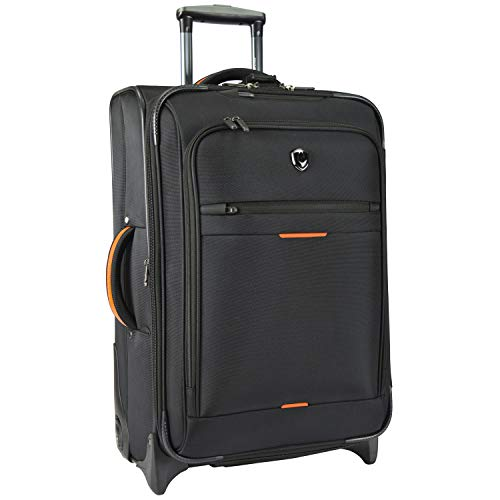 Traveler's Choice Birmingham Ballistic Nylon Expandable Rollaboard Luggage, Black, Checked-Medium 25-Inch
