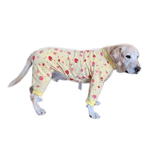 Huisdier kleding, Hond Vierbenige Jumpsuit Jas Schattig Patroon Winter Lange Mouw pyjama met Rits Kostuum voor Medium Honden Grote Honden, 9#-Back Length 65cm, Geel