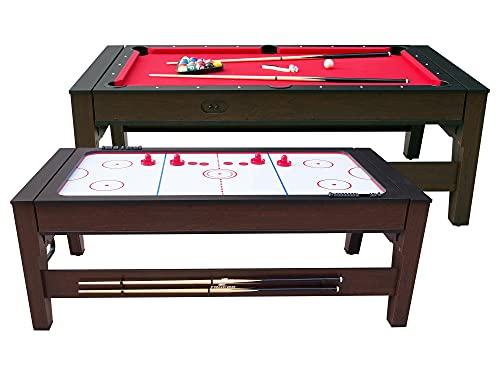 Cougar Reverso Billard & Airhockey Tisch 6ft in Braun / Rot | Höhenverstellbarer Airhockeytisch & Billardtisch 2in1 inkl. Zubehör | Tischbillard für Kinder und Erwachsene für Zuhause