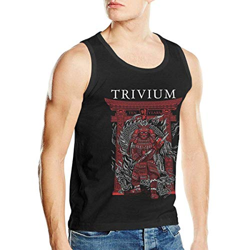 WLQP Camiseta sin Mangas para Hombre Trivium Tank Top Mens Sleeveless Round Neck Vest Fitness Muscle Cotton T Shirt