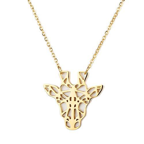 Peculiaro Collar Jirafa Oro, Joya de Origami & Collar geométrico Oro Mujer, bañado en Oro, Joyería para niñas y Mujeres, perteneciente a la colección Geometric Nature