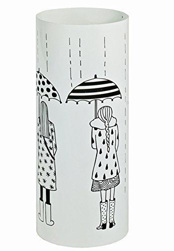 PEGANE Porte parapluies en métal laqué Blanc Motif imprimé - Dim : Diam 18 x H45 cm