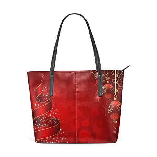 Bolsos de hombro con correa de peso ligero para mujeres Niñas Damas Bolso de estudiante de cuero Hermosas Navidad Bolas rojas Bolso de la ciudad Bolsos de compras