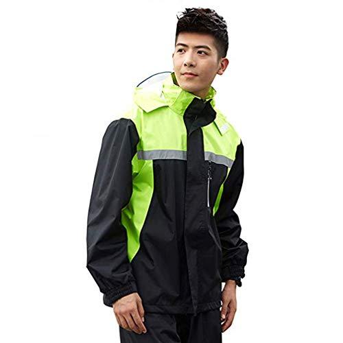La Mode Poncho Pluie Impermeable Tops + Pantalons, en Tissu Polyester imperméable de Haute qualité,Double Couche Respirante,Poncho ImperméAble de Homme Adulte,B,L
