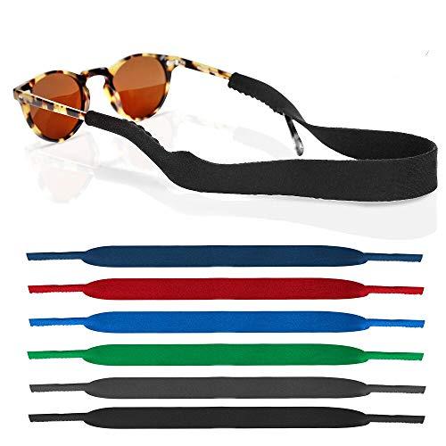 6 Pack Neoprene Glasses and Sunglasses Strap, Anti Slip Sport Eyewear Retainer Holder Strap - 6 Colors