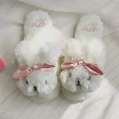 DINEGG Japanische Nette Plüsch dreidimensionale Nette Kaninchen-Hausschuhe Indoor-Mädchen-Cartoon-warme Hausschuhe können weiß 36-37 Sein YMMSTORY