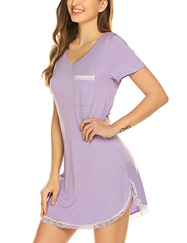 Ekouaer Nightgowns Womens Cotton Night Shirts Short Sleeve Sleep Dress Purple XL