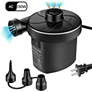 semai Electric Air Pump Portable Quick-Fill Air Pump for Inflatable Couch, Air Mattress, Swimming Ring, Inflatable Pool Toys, Powerful Electric Inflator/Deflator Air Pump with 3 Nozzles 110-240V AC