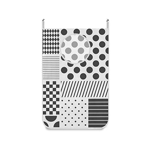 XiangHeFu Wasmand, grote deur, opvouwbaar, stoffen tas, stippen, patchwork, zwart, wit, inklapbaar