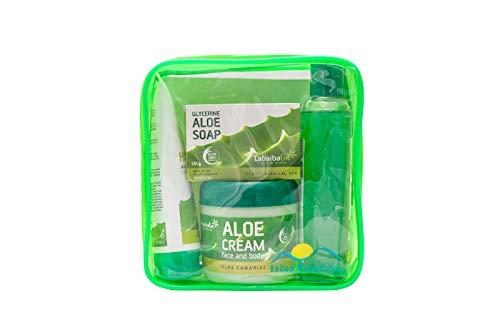 Reisetaschen-Set Bad und Körperpflege Kosmetik Natürliche Aloe Vera Tabaibaloe