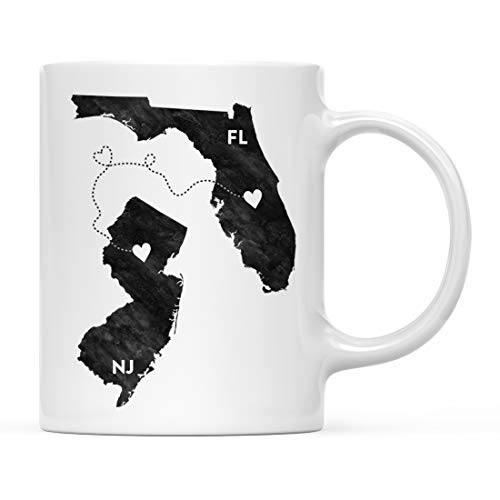 Andaz Press 11oz. Coffee Mug Long Distance Gift, Florida and New Jersey, Black and White Modern, 1-Pack, Moving Away Graduation University College Gifts for Him Her Relationships