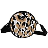 Animal Print Leopard Textura Fondo Lona Crossbody Bolso Redondo Bolso De Hombro Círculo Monedero