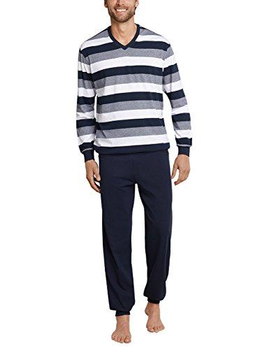 Schiesser Herren Schlafanzug lang mit Bündchen Zweiteiliger, Blau (Dunkelblau 803), Large (Herstellergröße: 052)