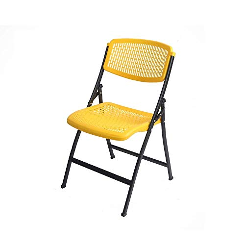 Stoelen en krukken Business Meeting Stoel Portable Chair Office Training klapstoel plastic Klapstoel Plastic Klapstoel kunnen worden gestapeld Wedding Party Stoel Met zachte kussen (geel) (Size : -)