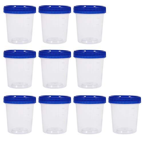 UPKOCH 10 Stück Sterile Probenbecher mit Deckel Urinbecher Urinprobenbecher Aufschraubdeckelbehälter Transparente Einweg-Plastik-Messbecher 120ml