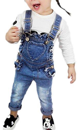 CYSTYLE Kinder Mädchen Denim Overall Jeans Hose mit Rüschen Kinder Baumwolle Latzhose (130/Körpergröße 115-120cm)