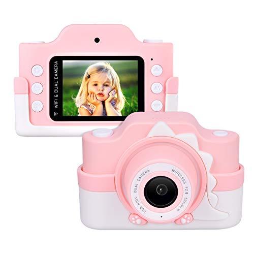 Miavogo Cámara infantil WiFi con doble lente, cámara fotográfica para niños de 24 megapíxeles, pantalla de 2 pulgadas, HD 1080p, bonita cámara digital para niños y niñas, color rosa