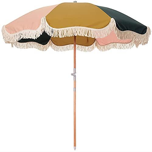 QQ HAO Sombrilla de playa de ocio con borla, sombra de madera maciza de 8 huesos, diámetro de 180 cm