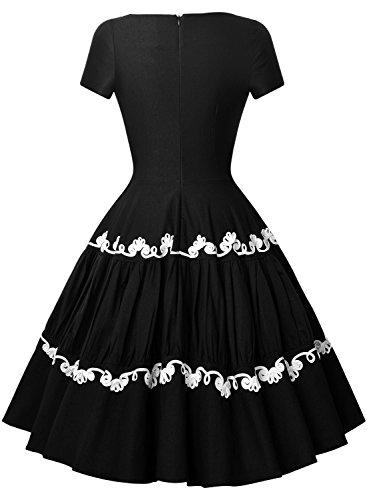 Miusol 50er Retro Rockabilly Kleid Audrey Hepburn Schwingen Bestickt Cocktailkleid Abendkleid Schwarz Gr.S - 2