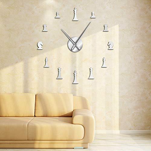 yrfchgj Piezas de ajedrez Rey Obispo Caballero Peón Juego de Sala de Estar DIY Reloj de Pared Grande Pegatinas de ajedrez Reloj de Pared Regalos de Jugador de ajedrez Plata 37 Pulgadas