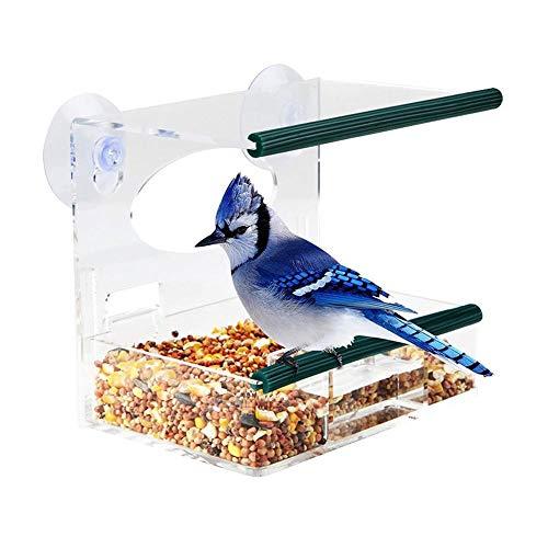 SNIIA Vogelvoederhuisje voor wilde vogels, hangend vogelhuisje met vrij raam en 3 zuignappen met afvoergaten