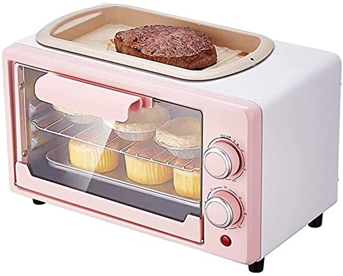 12l Large-Capacity Convection Table-Top Oven, 35-230℃ Precise Temperature Control, Grill With Frying Pan, Can Be Used For Barbecue, Cake, Chicken Wings, Etc, Pink.