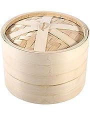 Stoompan, 2 niveaus bamboestoommand met deksel van Chinese natuurcirkel koken, fornuis voor thuiskeuken, restaurant, enz.
