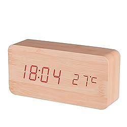 BALDR Wooden Digital Alarm Clock, Bamboo Wood Red Light