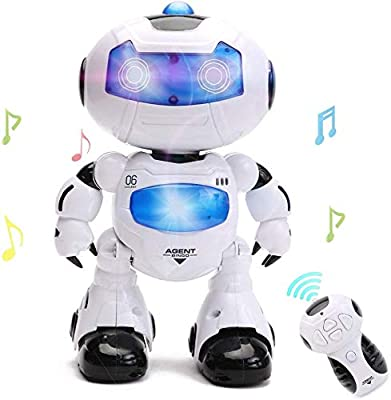 HANMUN RC Robot for Kids - Electronic Learning Toys Toddler Dancing Singing Remote Control Robot Led Eyes with Music Lights … by HANMUN