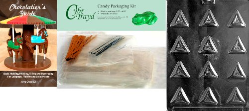 Best Deals! Cybrtrayd Triangular Purim Pieces Chocolate Candy Mold with Chocolatier's Bundle, Includ...