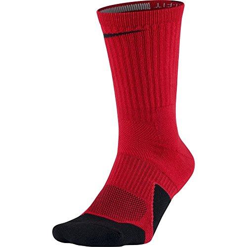 NIKE Unisex Dry Elite 1.5 Crew Basketball Socks (1 Pair), University Red/Black/Black, Medium
