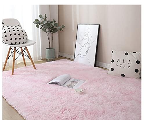 Cozy Basic - Alfombra de salón, antideslizante, lavable, pelo largo, suave, moderna, para salón, dormitorio, sofá, decoración, color rosa, 80 x 120 cm
