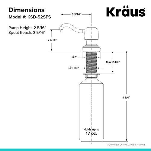 Kraus Spot Free Kitchen Soap Dispenser Mylo in all-Brite Stainless Steel Finish