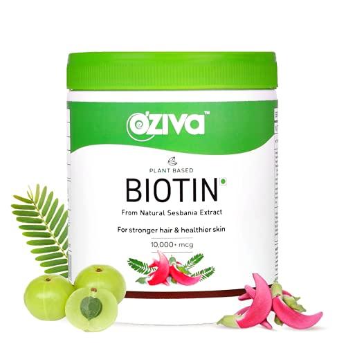 OZiva Plant Based Biotin 10000+ mcg (with Natural Sesbania Agati Extract, Bamboo Shoot, Amla, Pomegranate), For Stronger Hair & Healthier Skin, 125g (Biotin, 125g)