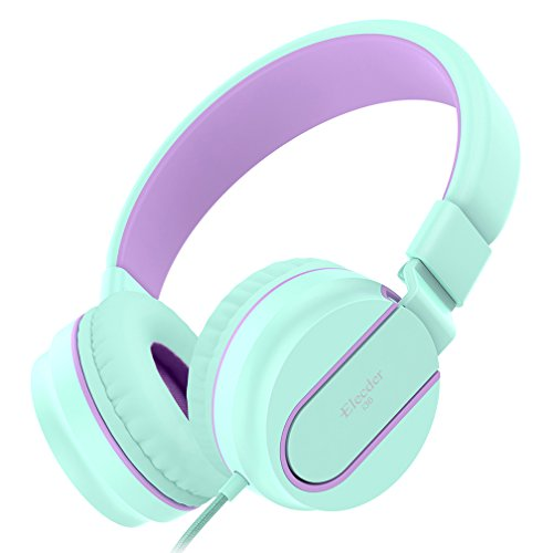 Elecder i36 Kids Headphones Children Girls Boys Teens Foldable Adjustable On Ear Headphones 3.5mm Jack Compatible iPad Cellphones Computer Kindle MP3/4 Airplane School Tablet Green/Purple