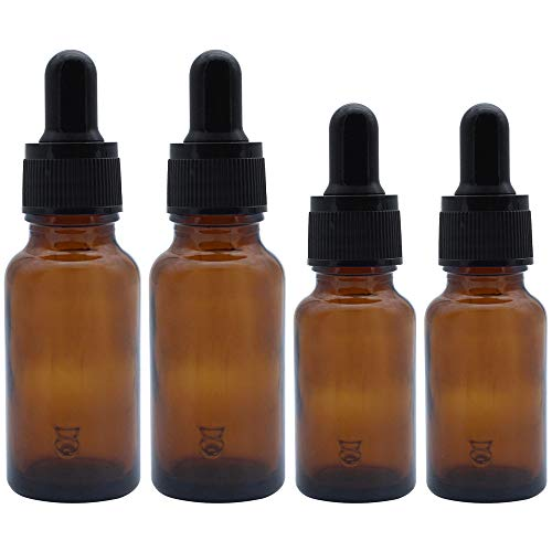 JaneYi (4 Stück) 10ml und 20ml Bernstein Braun Glasflaschen Leere Flaschen für Ätherische Öl Nachfüllbarer Parfümbehälter mit Pipetten aus Glas für DIY...