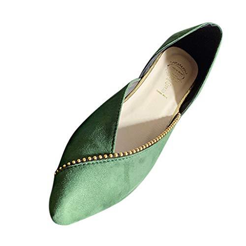 Damen Geschlossene Ballerinas Wildleder Spitz Flache Schuhe, Frauen Mokassins Bequeme Loafer Elegante Slipper Casual Slip-Ons Schöner Damenschuhe Celucke (Grün, 39 EU)