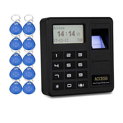 YAVIS RFID Fingerabdruck-Zugangskontrolle Codeschloss Türöffner Fingerprint Access Control Tastatur Biometrische 125KHz Einzeltür Proximity Karte Zutrittskontroll system + 10 stücke ID Keyfobs