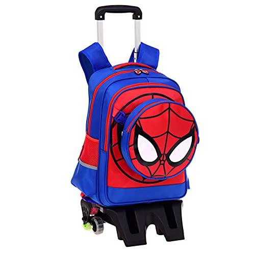 XNheadPS Zaino Spiderman per Ragazzi Zaini Trolley per Bambini Borse a Tracolla Leggere di Grande capacità Borse da Scuola per Adolescenti e Ragazze Zaino per Il Tempo Libero,Tall Feet -Six Wheel
