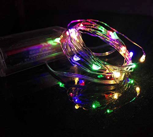 Viewpick Led String Lights,Multicolored Christmas Fairy Lights,Mini Battery Powered Copper Wire Starry Fairy Lights for Bedroom,Christmas,Parties,Wedding,Centerpiece,Decoration(7ft 20LEDs Multicolor)