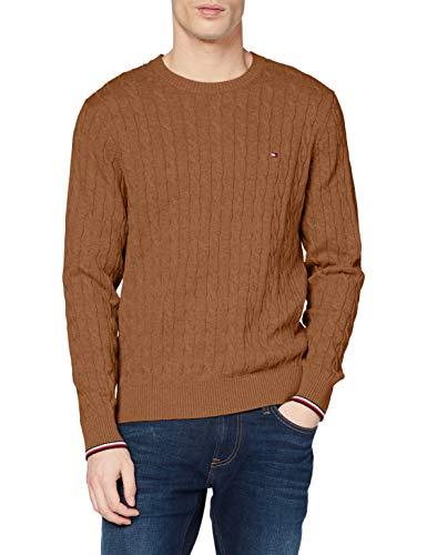 Tommy Hilfiger Organic Cotton Cable Crew Neck Suéter, Classic Camel Heather, M para Hombre