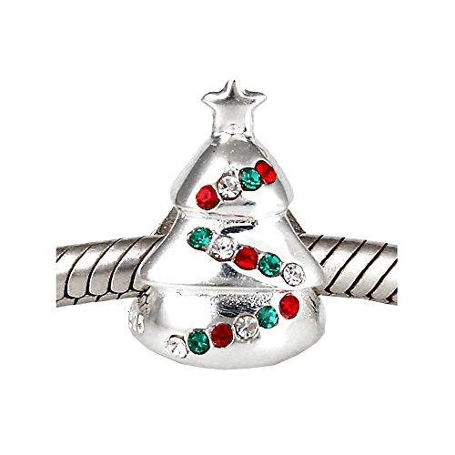 Andante-Stones 925 Sterling Silber Bead Weihnachtsbaum mit funkelnden bunten Kristallsteinen - Element Kugel für European Beads + Organzasäckchen