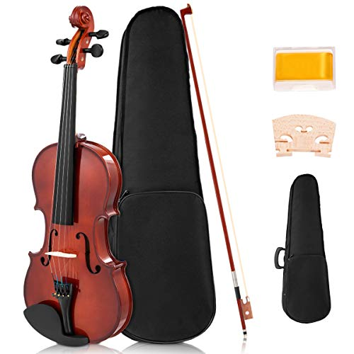 Costzon Full Size 4/4 Solid Wood Violin for Beginners, Acoustic Starter Kit with Hard Case, Rosin, Bridge, Bow, Violin Outfit Set, Gift for Kids Students