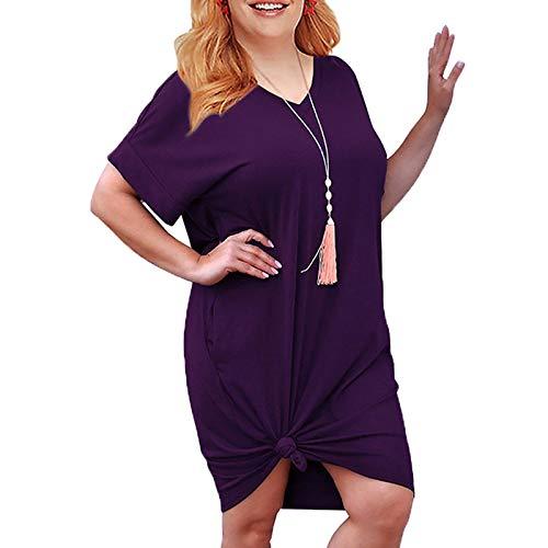 Vestido de Camiseta para Mujer Tallas Grandes con Cuello en V Vestido de Manga Corta Tallas Grandes Vestidos Sueltos Ocasionales hasta la Rodilla con Bolsillos
