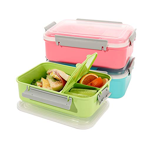 shopwithgreen Lunchbox, 3 PCS Bento Box,1200ml (40-oz) Lunch-Behälter Salatbehälter für Mittagessen, Sandwich Brotbox für Schule, Arbeit, Picknick und Reisen, Mikrowelle & Geschirrspülersicher…
